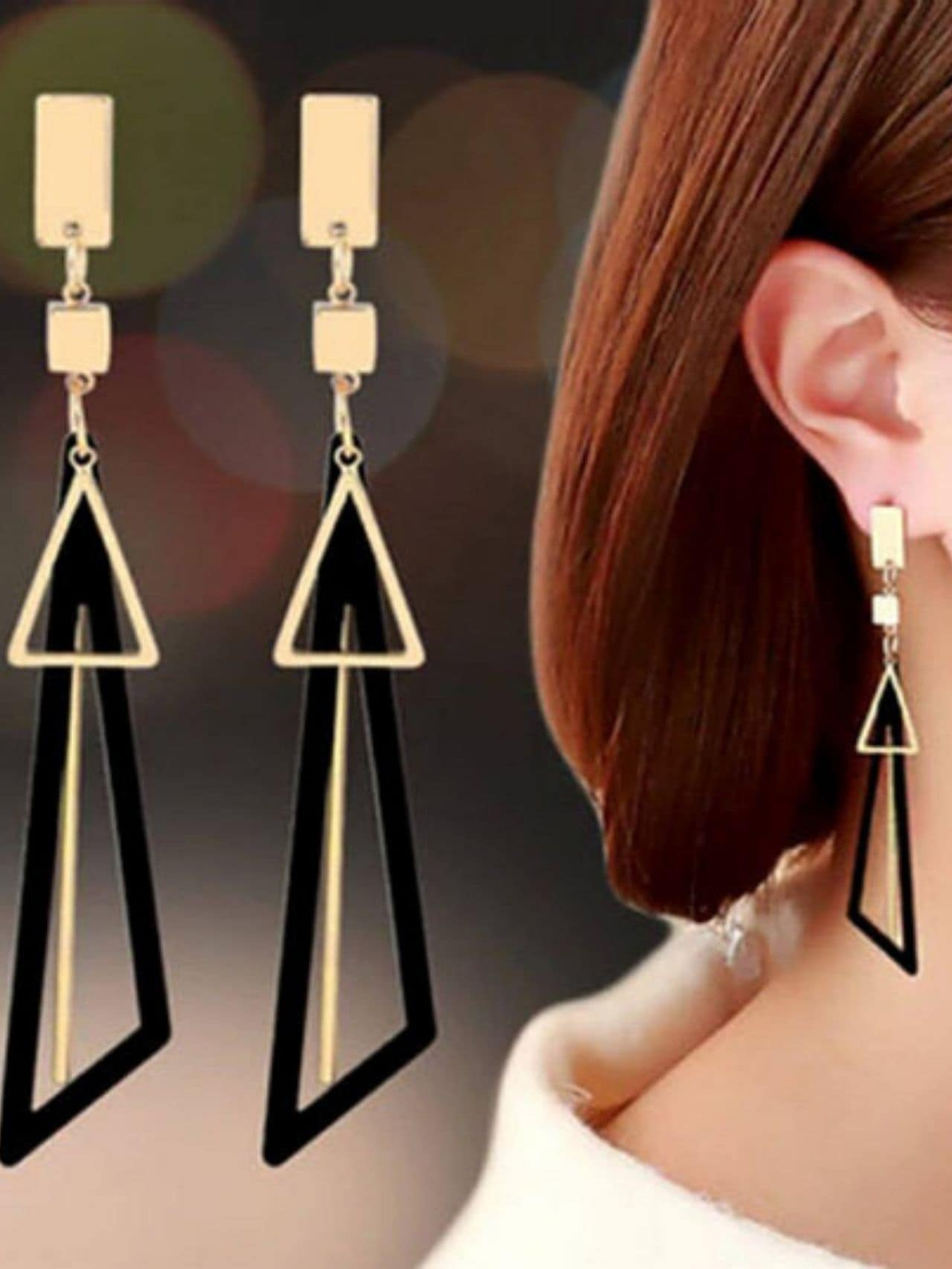 Geometric Triangle Tassel Dangle Earrings