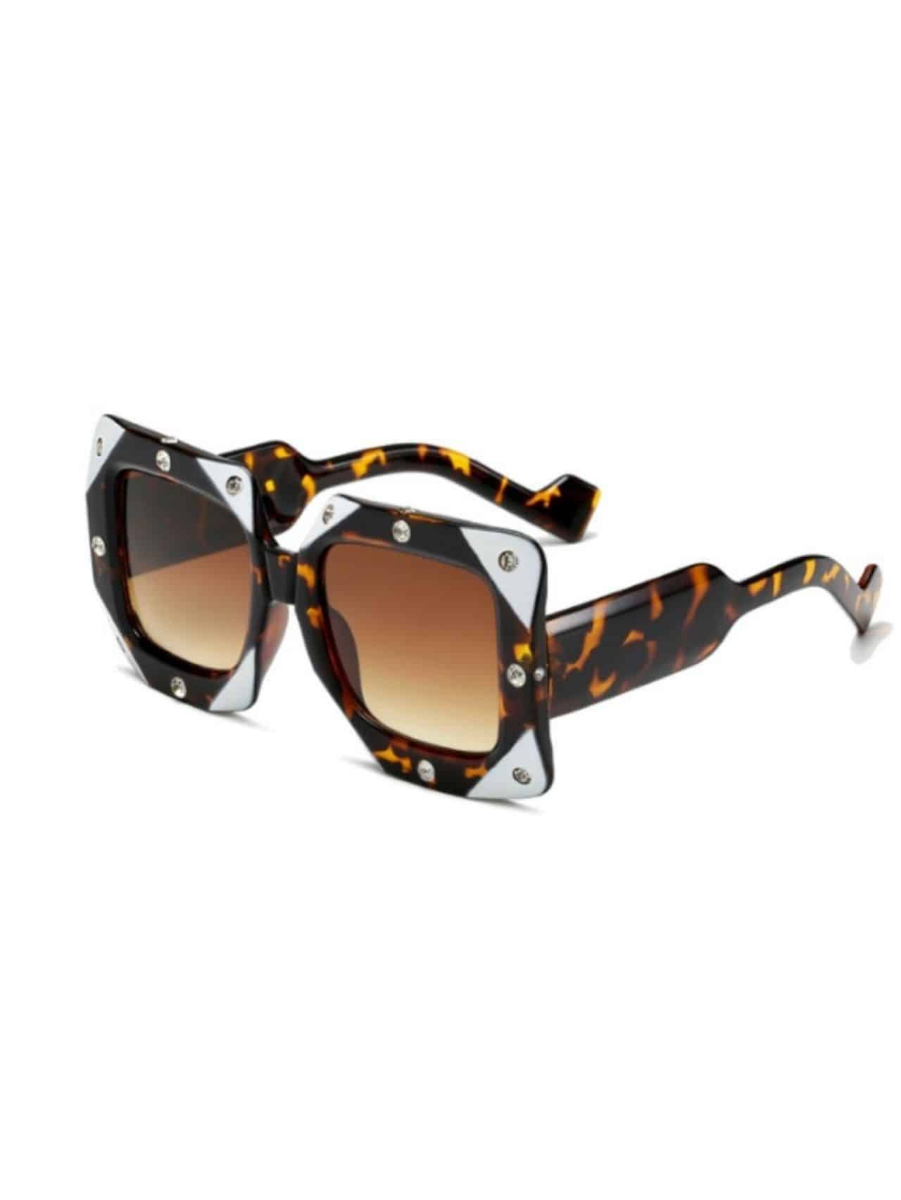 Italian Big Frame Square Diamond Sunglasses