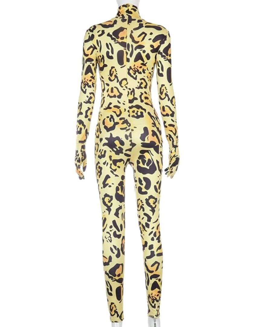 New Fashion Leopard Printed Turtleneck Jumpsuit