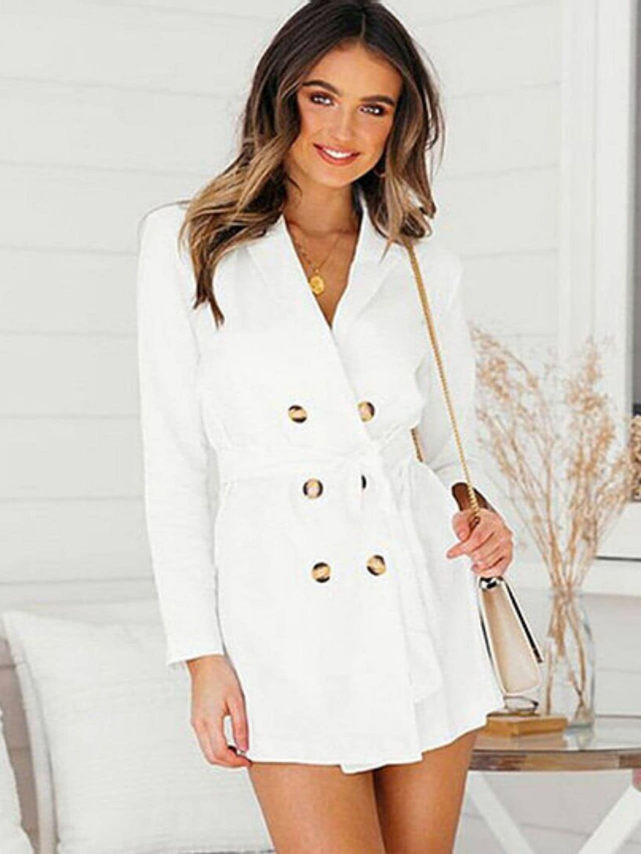 Notched Neck Bandage Blazer Dress