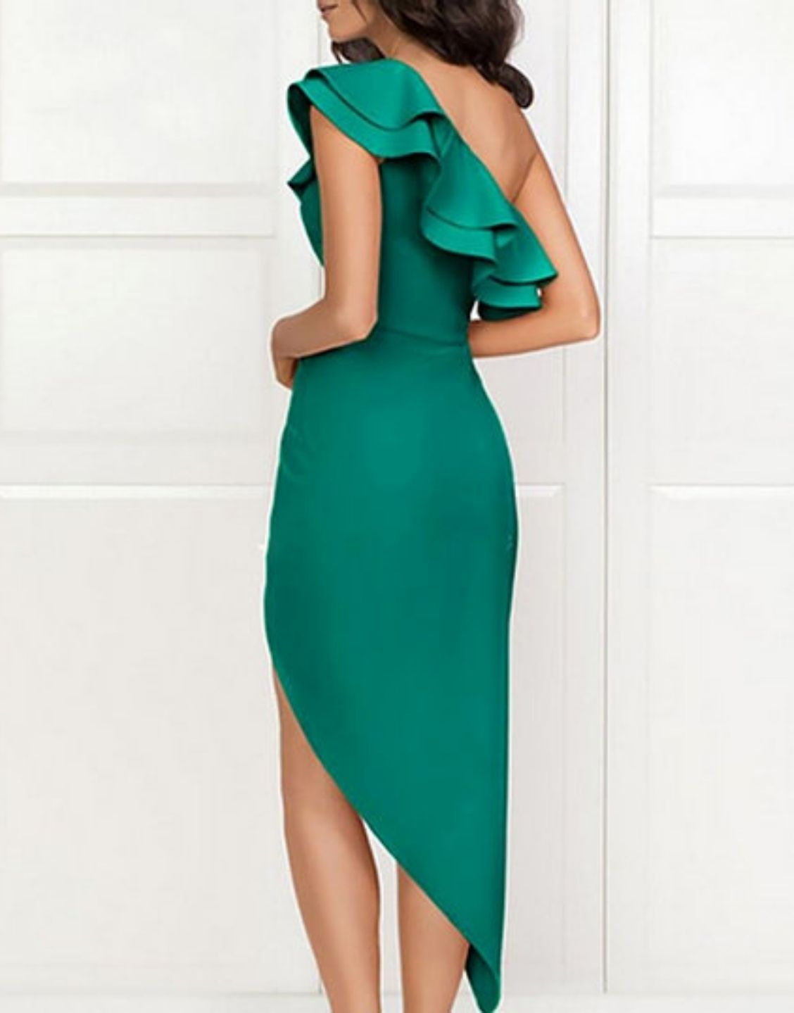 One Shoulder Ruffles Slit Dress