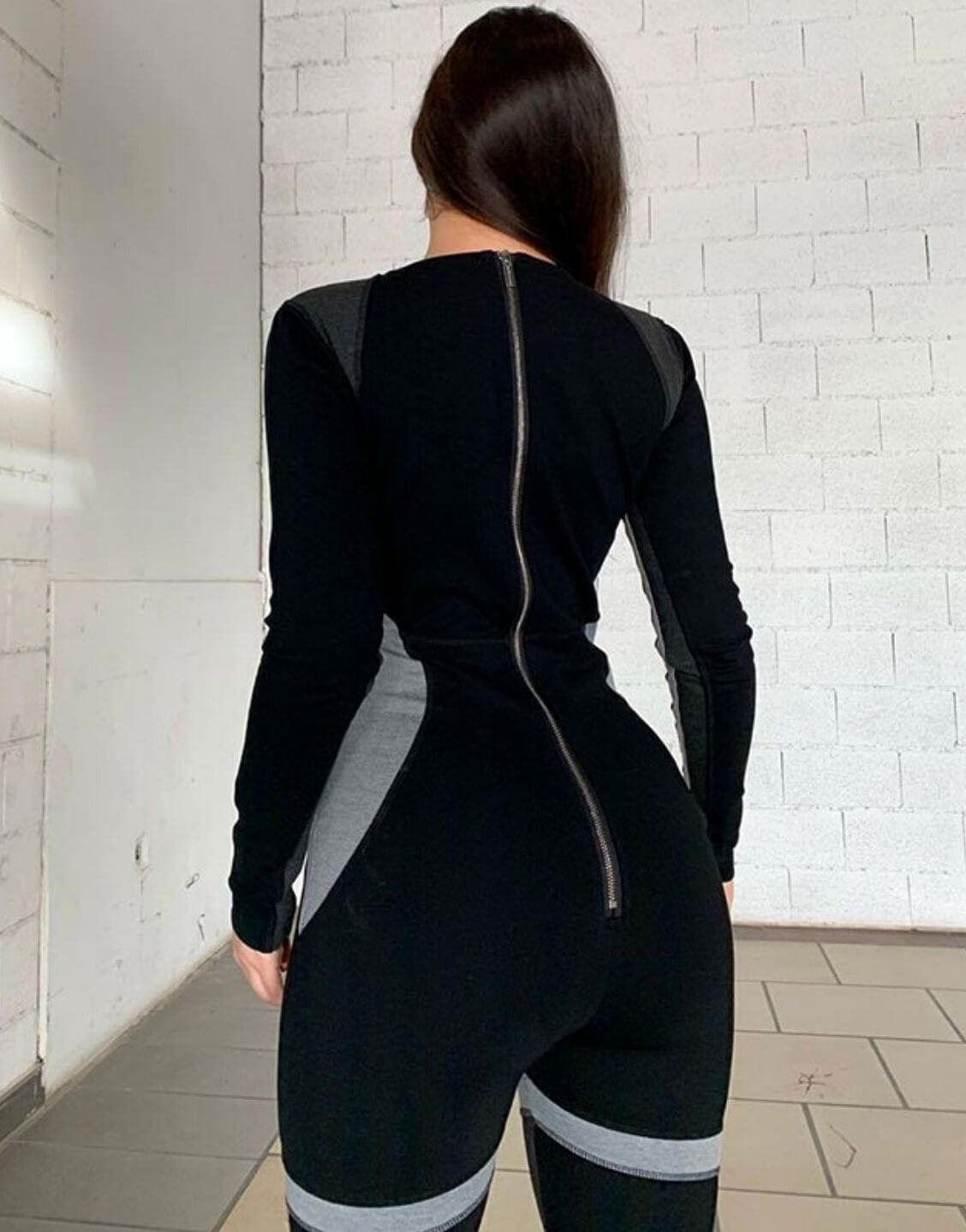 Patchwork Skinny Long Sleeve Jumpsuit