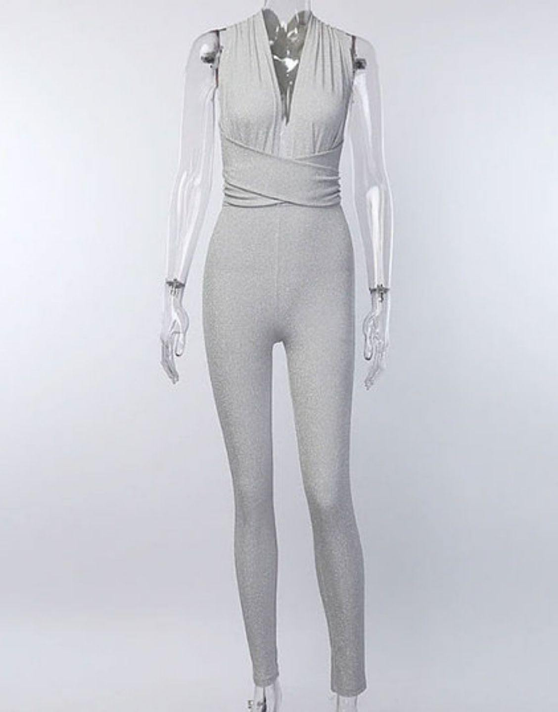 Silver Shine V-neck Sleeveless Jumpsuit