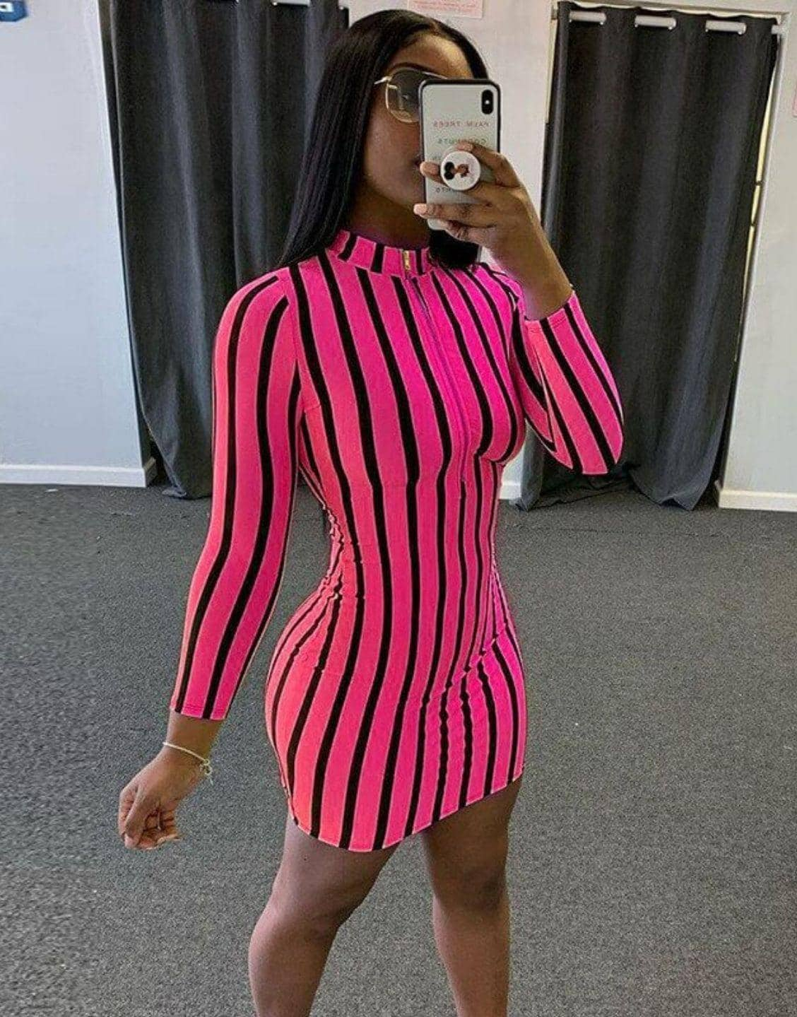Striped Print Sheath Bodycon Dress