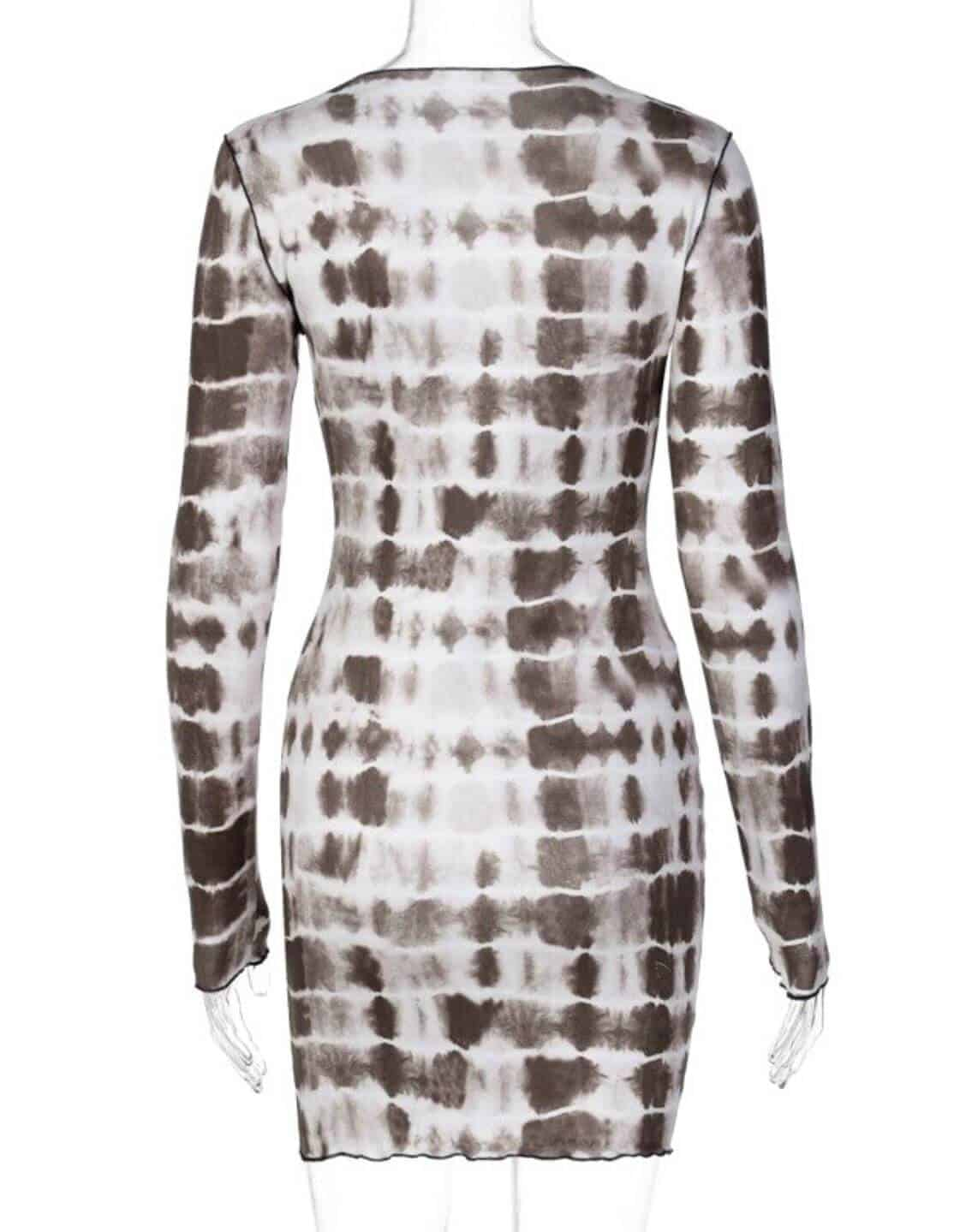 Tie Dye Print Bodycon Long Sleeve Dress