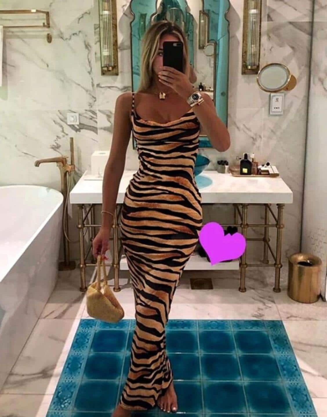 Zebra Stripe Thin Straps Maxi Slip Dress