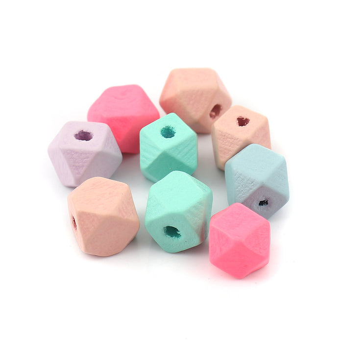 60 Pastel Geometric Wood Beads 3/8 Inch or 10mm Faceted Painted Wood Beads with 2.6mm Hole