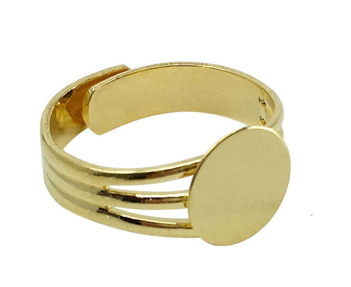 Gold Plated Adjustable Ring Blank Finding with 10mm Glue on Pad for Ring Components - 12 Pcs