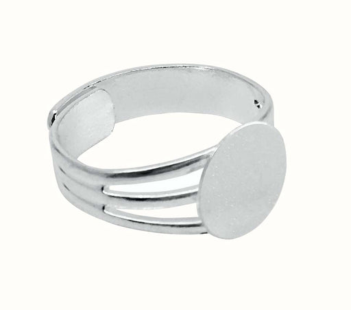 Silver Plated Adjustable Ring Blank Finding with 10mm Glue on Pad for Ring Components - 12 Pcs