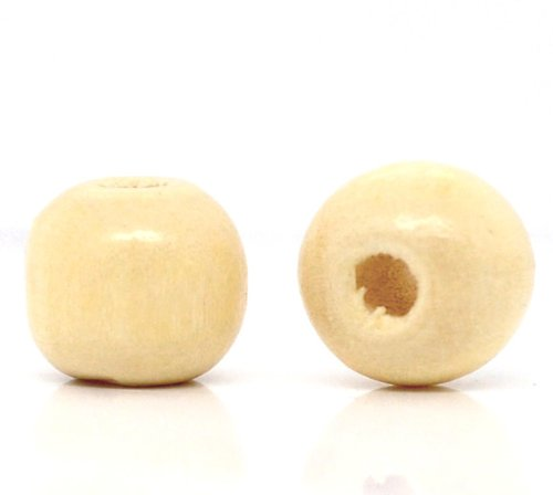 600 Natural Clear Coat Round Wood Beads Bulk 10mm x 9mm with 3mm Hole