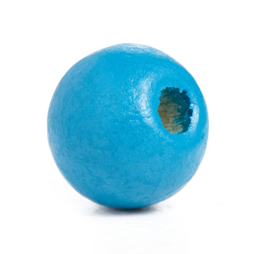 600 Peacock Blue Round Wood Beads Bulk 10mm x 9mm with 3mm Hole