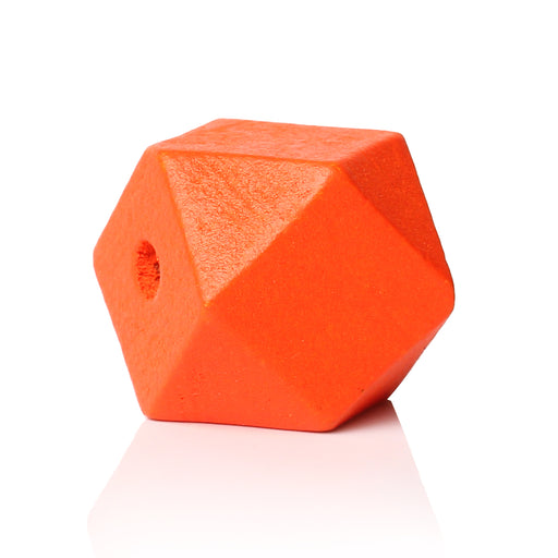 30 Orange Painted 20mm Geometric Faceted Wood Bead with 4.2mm Hole