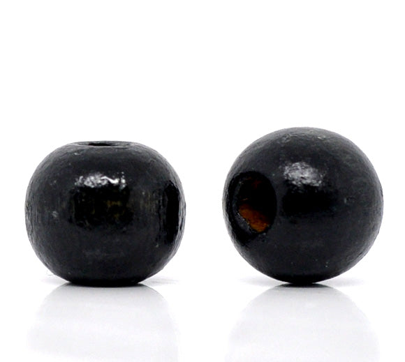 600 Round Black Wood Beads Bulk 10 x 9mm Diameter 3mm Large Hole
