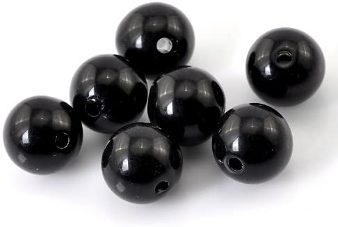 300 Round Black Acrylic Beads 12mm Diameter with 2mm Hole