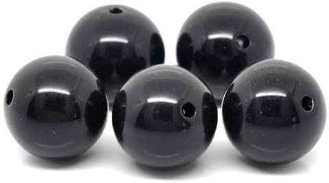 60 Round Black Acrylic Beads 20mm Diameter with 2.6mm Hole
