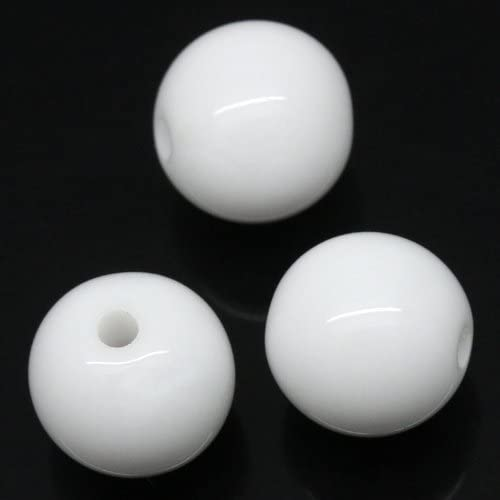 400 Round White Acrylic Beads 10mm Diameter with 1.8mm Hole