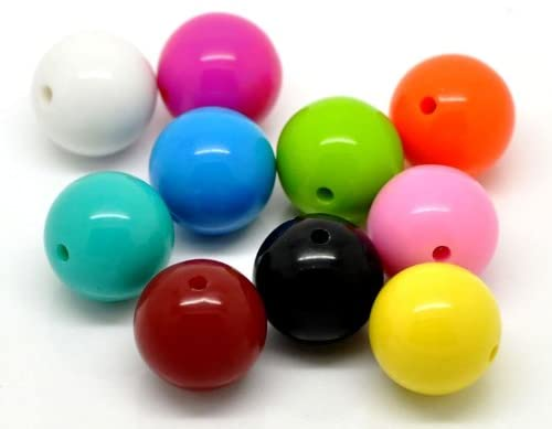 80 Round Multicolor Acrylic Beads 20mm Diameter with 2.8mm Hole