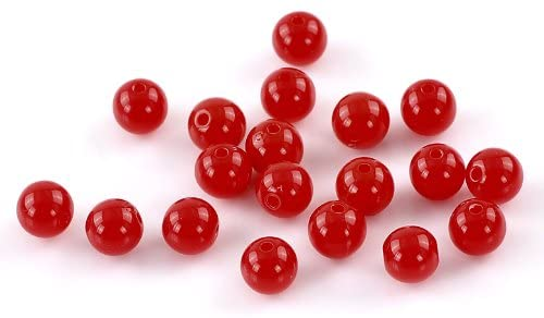 900 Round Red Acrylic Beads 8mm Diameter with 1.5mm Hole