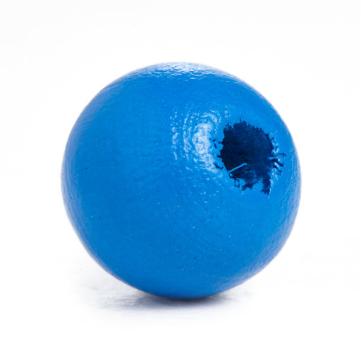 500 Bright Blue Round Wood Beads Bulk 10mm x 9mm with 2.5mm Hole
