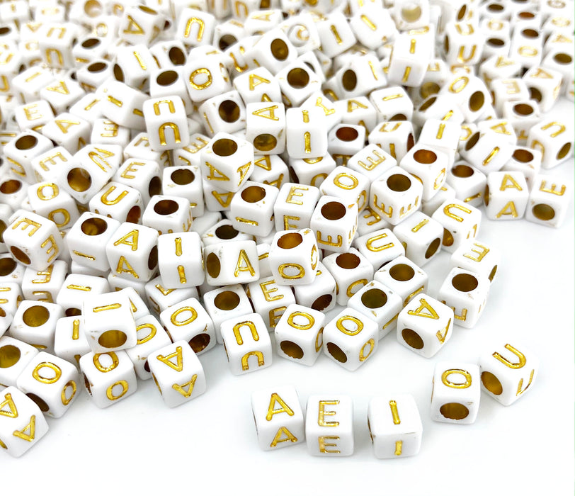 500 White and Gold Acrylic Letter Beads Vowels Only 6mm with 3.4mm Hole