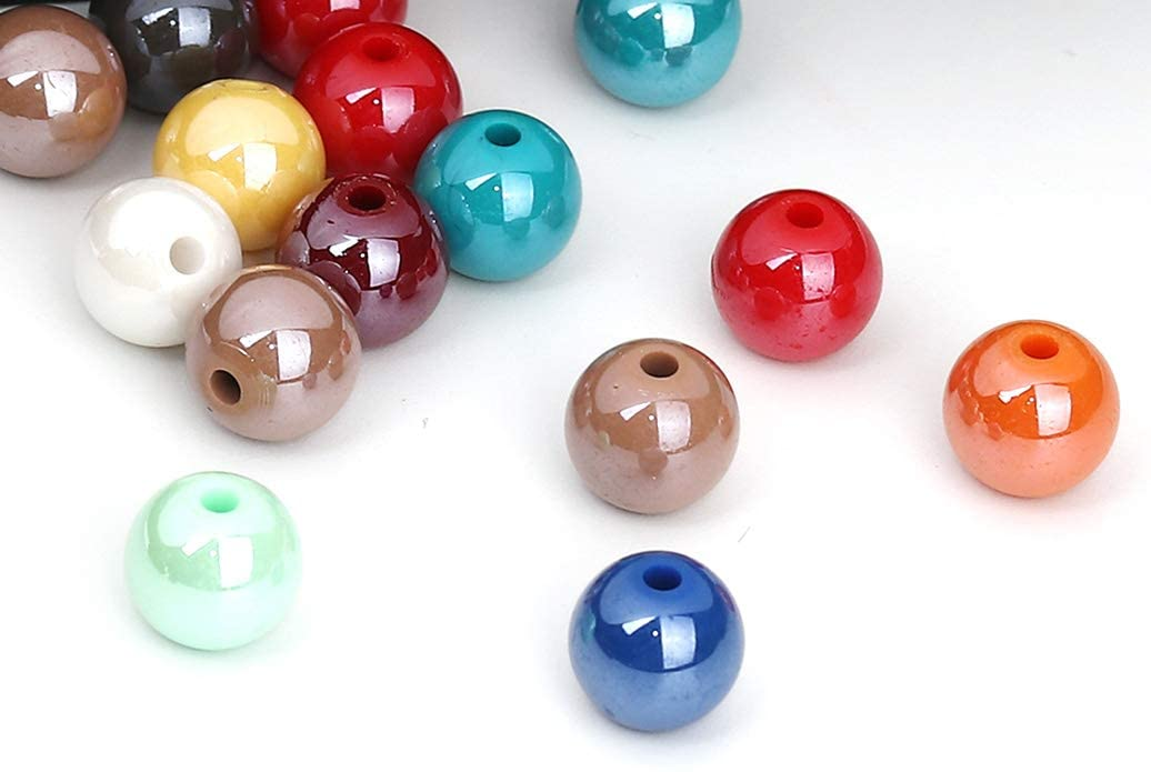 200 Round AB Multicolor Acrylic Beads 10mm Diameter with 1.9mm Hole