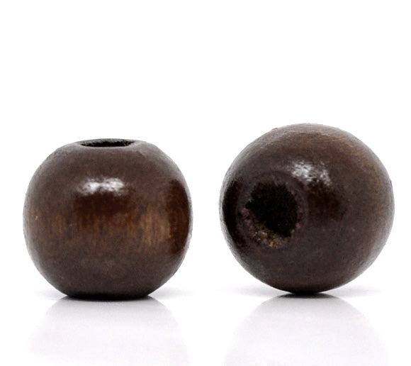 600 Dark Brown Coffee Colored Beads Bulk 10 x 9mm Round Wood Bead with 3mm Large Hole