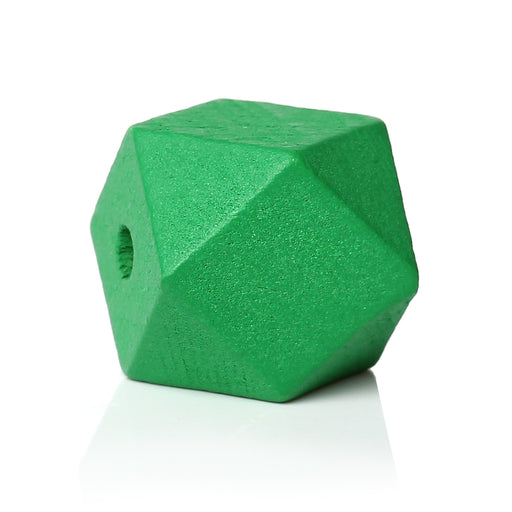 30 Green Painted 20mm Geometric Faceted Wood Bead with 4.2mm Hole