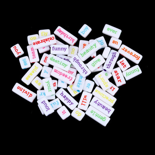 100 Grams White Acrylic Phrase Beads with Neon Multicolor Letters 10mm with 3.1mm Hole