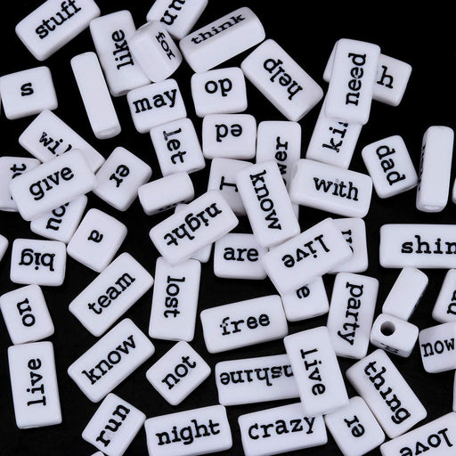 100 Grams White Acrylic Phrase Beads with Black Letters 10mm with 3.1mm Hole