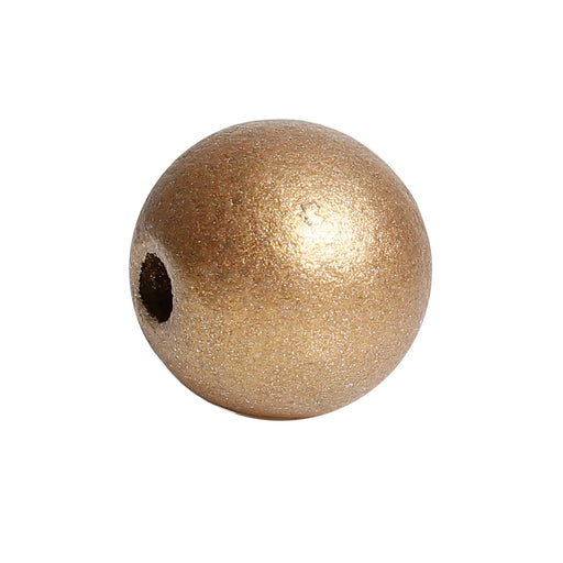 150 Metallic Gold Wood Beads Bulk 15mm Round Wood Bead with 3.6mm Large Hole