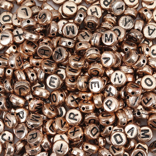 1,000 Round Rose Gold Acrylic Letter Beads with Black Letters 7mm with 1.4mm Hole
