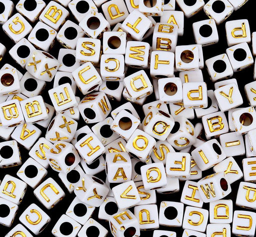 600 White Acrylic Letter Beads with Gold Letters 7mm with 3.8mm Hole