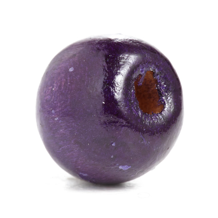 600 Purple Round Wood Beads Bulk 10mm x 9mm with 3mm Hole