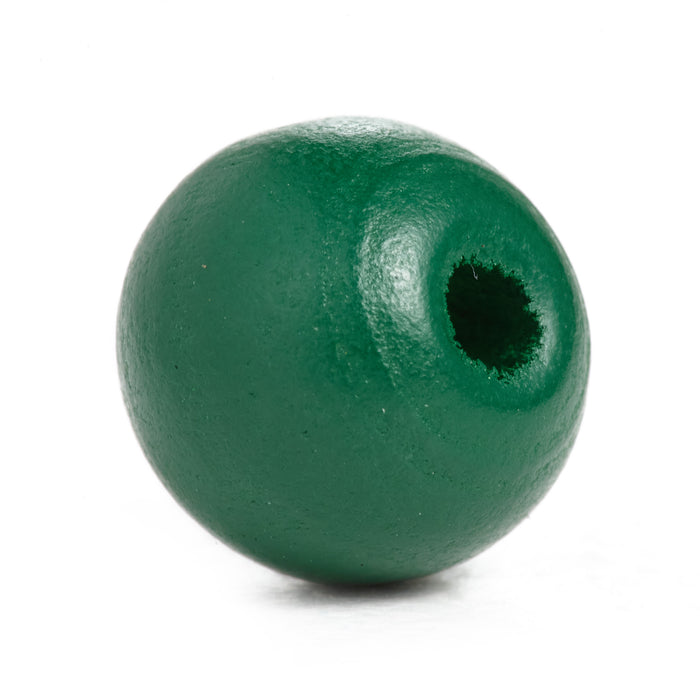 500 Forest Green Round Wood Beads Bulk 10mm x 9mm with 3.1mm Hole