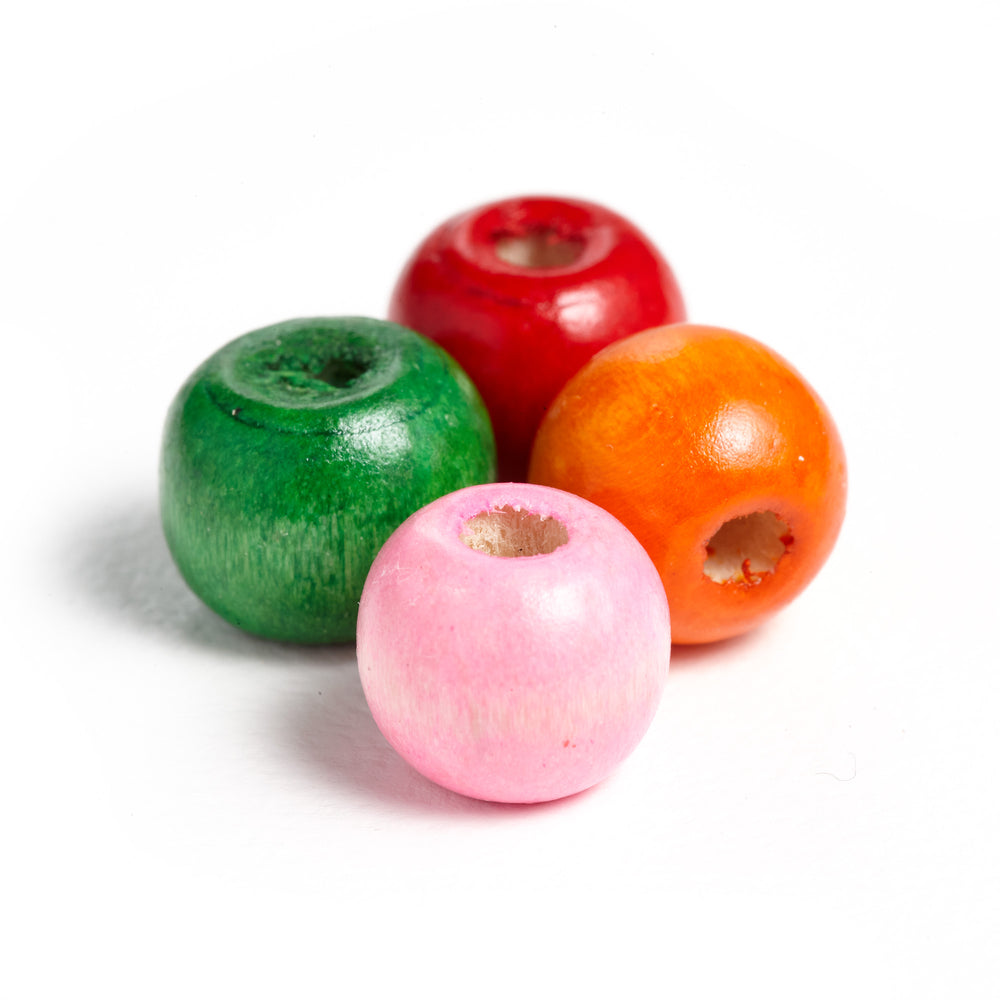 500 Round Painted Multicolor Barrel Wood Beads 10 x 9mm Round Wood Bead with 3mm Large Hole