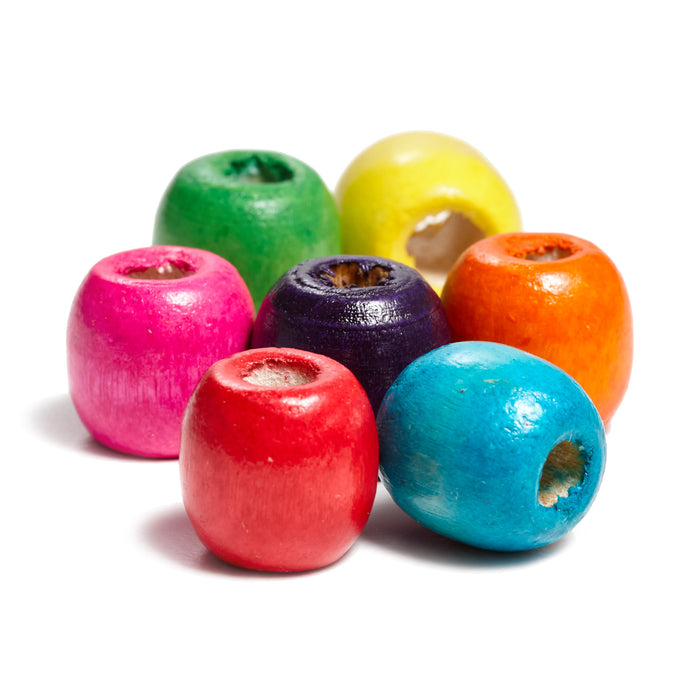 200 Round Barrel Wood Beads Assorted Colors 17mm x 14mm with 8mm Large Hole