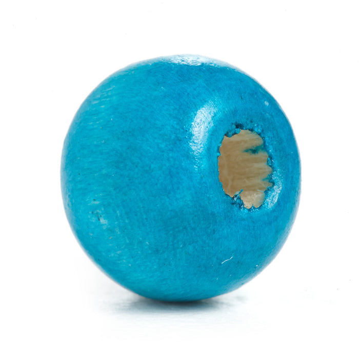 600 Turquoise Round Wood Beads Bulk 10mm x 9mm with 3mm Hole