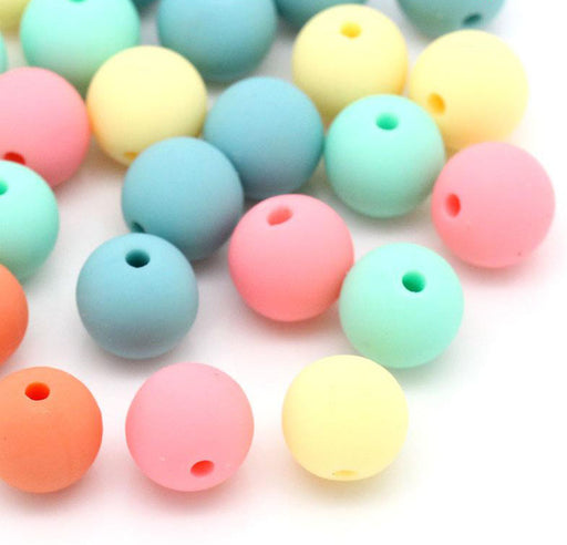 300 Round Assorted Matte Pastel Acrylic Beads 10mm with 1.8mm Hole