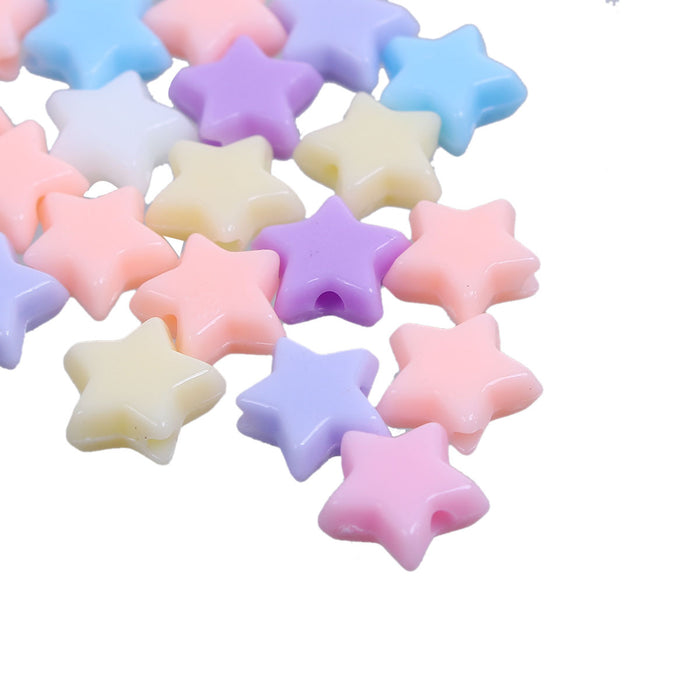 1000 Assorted Pastel Star Acrylic Beads 11mm with 1.6mm Hole
