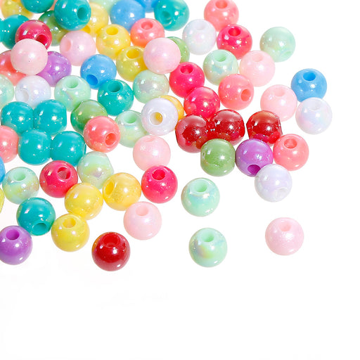 2000 Round Assorted Pastel Acrylic Beads 6mm with 1.9mm Large Hole