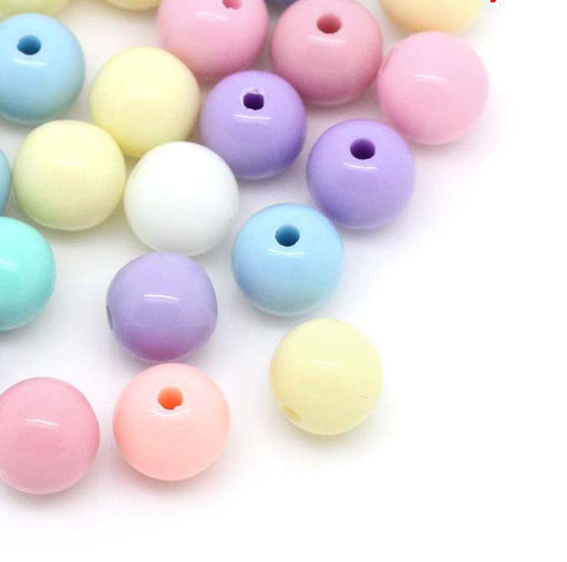 1500 Round Assorted Pastel Acrylic Beads 6mm with 1.5mm Hole