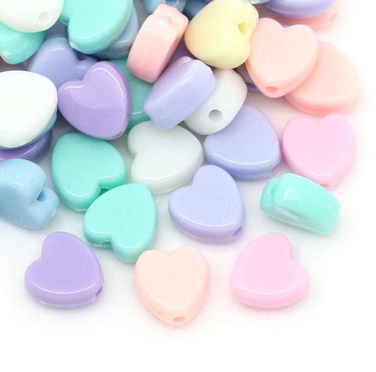 600 Assorted Pastel Heart Acrylic Beads 8mm with 1.5mm Hole