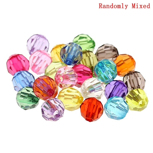 1,000 Round Faceted Multicolor Acrylic Beads 6mm with 1mm Hole