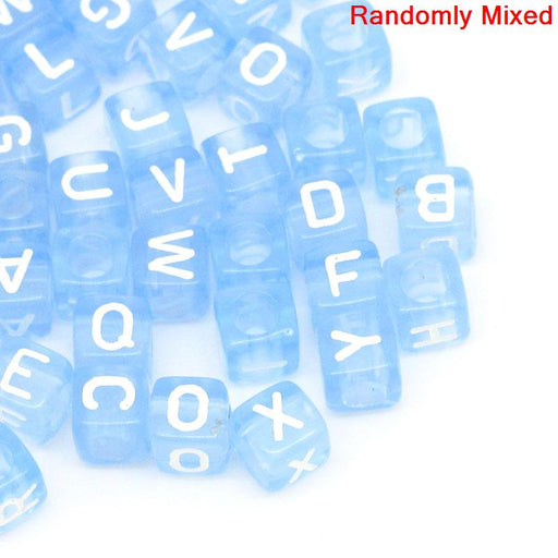 450 Blue Acrylic Letter Beads with White Letters 6mm with 3.4mm Hole
