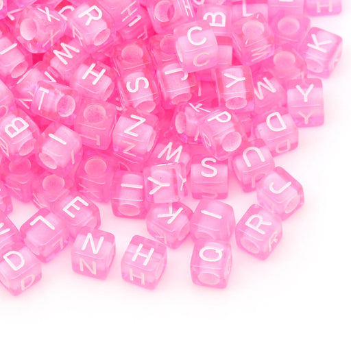1,000 Pink Acrylic Letter Beads with White Letters 6mm with 3.4mm Hole