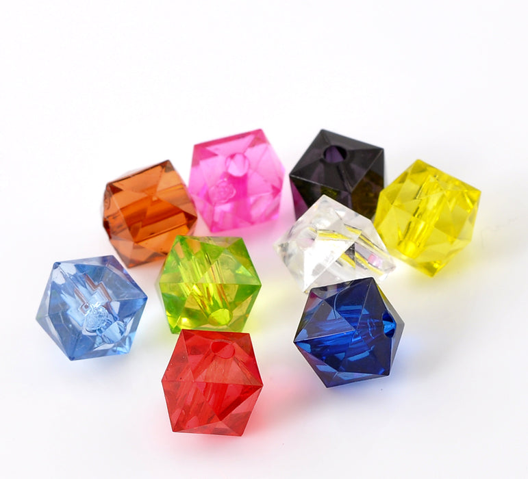 400 Square Multicolor Faceted Acrylic Beads 10mm with 2mm Hole