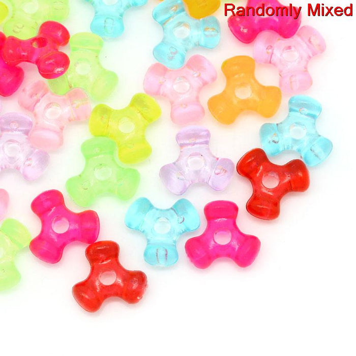 1000 Assorted Pastel Triangle Bone Acrylic Beads 10 x 9mm with 2mm Hole