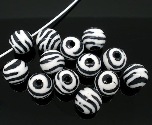 150 Round Zebra Print Acrylic Beads 12mm with 2.5mm Hole