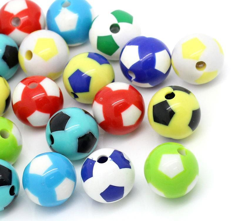 40 Round Multicolor Acrylic Soccer Ball Beads 20mm with 3.7mm Hole