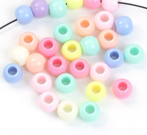 400 Round Assorted Matte Pastel Acrylic Beads 9 x 11mm with Large 5.9mm Hole